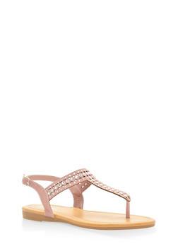 Rhinestone Slingback Thong Sandals - MAUVE - 3112004063536
