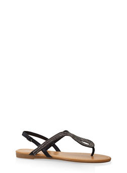 Rhinestone Thong Sandals - BLACK - 3112004063537