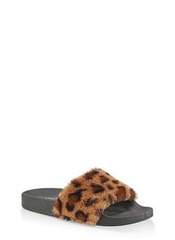 Faux Fur Pool Slides - LEOPARD PRINT - 3112004063538