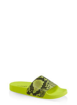 Neon Snake Print Pool Slides - 3112004063540