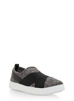 Double Strap Slip On Sneakers - GRAY KNIT - 3112004064728