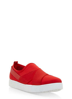 Double Strap Slip On Sneakers - RED LYC - 3112004064728