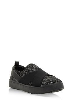 Double Strap Slip On Sneakers - BLACK GLITTER - 3112004064728