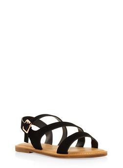Asymmetrical Strap Sandals - BLACK - 3112004066148