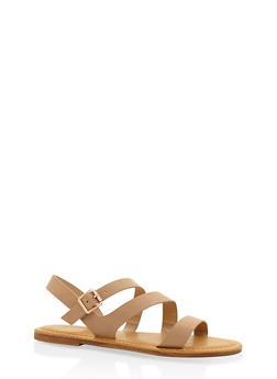 Asymmetrical Strap Sandals - NATURAL - 3112004066148