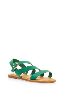 Asymmetrical Strap Sandals - GREEN - 3112004066148