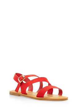 Asymmetrical Strap Sandals - RED - 3112004066148