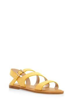 Asymmetrical Strap Sandals - YELLOW - 3112004066148