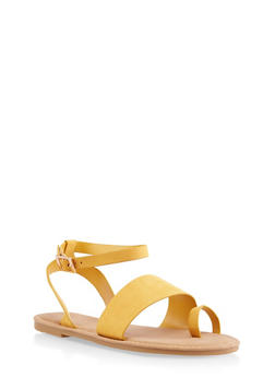 Toe Ring Ankle Strap Sandals | 3112004066150 - YELLOW - 3112004066150