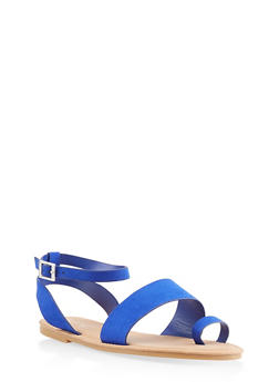 Toe Ring Ankle Strap Sandals | 3112004066150 - BLUE - 3112004066150