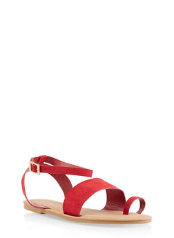 Toe Ring Ankle Strap Sandals | 3112004066150 - RED S - 3112004066150