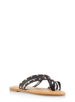 Studded Toe Ring Slide Sandals - 3112004066151