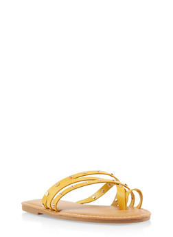 Studded Toe Ring Slide Sandals - 3112004066151