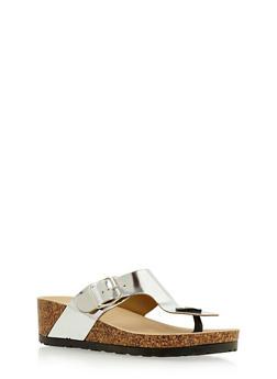 Foil Thong Sandals with Adjustable Strap - 3112004066263