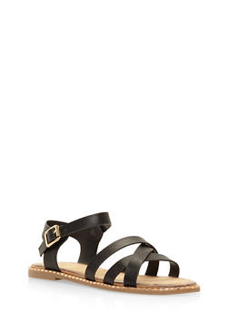 Studded Sole Criss Cross Sandals - BLACK - 3112004066513