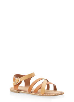 Studded Sole Criss Cross Sandals - TAN - 3112004066513