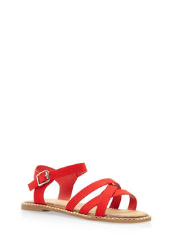 Studded Sole Criss Cross Sandals - RED - 3112004066513