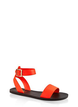 One Band Ankle Strap Sandals - NEON ORANGE - 3112004066667