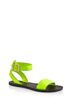 One Band Ankle Strap Sandals - NEON YELLOW - 3112004066667
