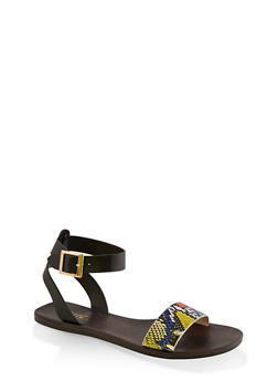 One Band Ankle Strap Sandals - MULTI COLOR - 3112004066667