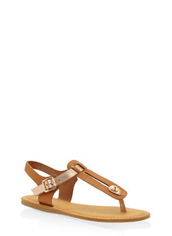 Cut Out Thong Sandals - TAN - 3112004067251