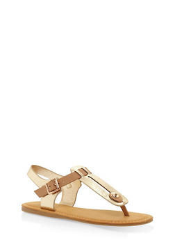 Cut Out Thong Sandals - GOLD - 3112004067251