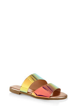 Wide Asymmetrical Band Slide Sandals - PINK - 3112004067363