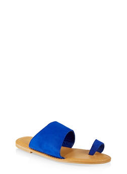 Asymmetrical Toe Ring Slide Sandals - BLUE - 3112004067470