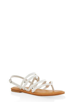 Multi Strap Thong Sandals - WHITE - 3112004067473