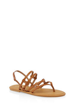 Multi Strap Thong Sandals - TAN - 3112004067473