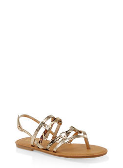 Multi Strap Thong Sandals - GOLD - 3112004067473
