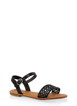 Woven Ankle Strap Sandals - BLACK - 3112004067480