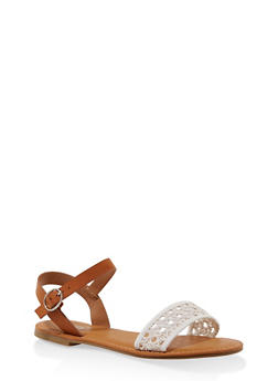 Woven Ankle Strap Sandals - WHITE - 3112004067480
