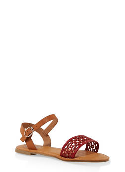 Woven Ankle Strap Sandals - RED - 3112004067480