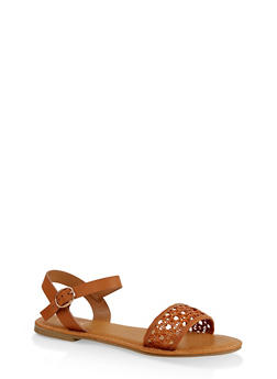 Woven Ankle Strap Sandals - CHESTNUT - 3112004067480