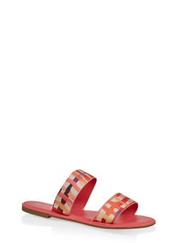 Printed Two Band Slide Sandals - CORAL - 3112004067481