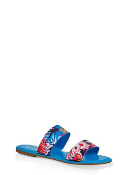 Printed Two Band Slide Sandals - BLUE - 3112004067481