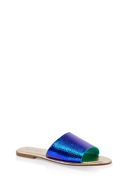 Wide Band Slide Sandals | 3112004067484 - BLUE - 3112004067484
