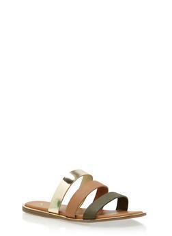 Faux Leather Triple Strap Slide Sandals - 3112004067849