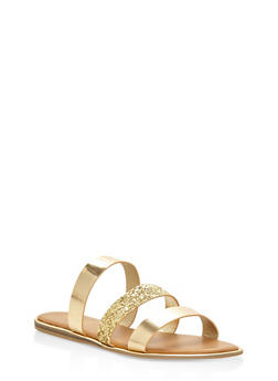 Triple Band Slide Sandals - GOLD - 3112004067856