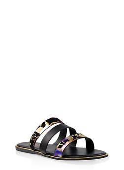 Foil Floral Print Triple Band Slide Sandals - 3112004067861