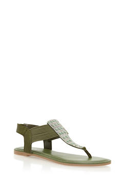 Rhinestone Stretch Thong Sandals - 3112004067871