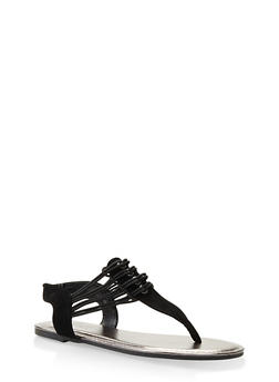 Elastic Thong Sandals - BLACK - 3112004067879