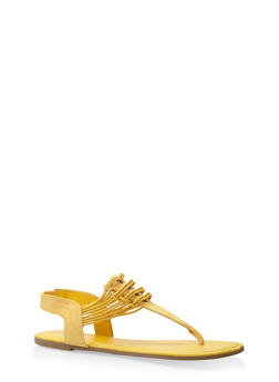Elastic Thong Sandals - YELLOW - 3112004067879