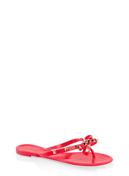 Studded Bow Jelly Flip Flops - 3112004067885