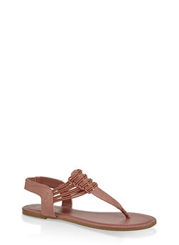 Elastic Strap Thong Sandals - 3112004067891