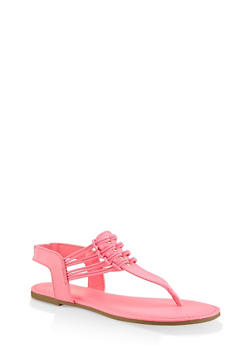 Elastic Strap Thong Sandals - PINK - 3112004067891