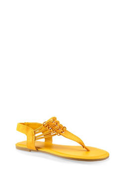 Elastic Strap Thong Sandals - YELLOW - 3112004067891