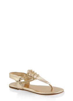 Elastic Strap Thong Sandals - GOLD - 3112004067891