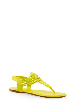 Elastic Strap Thong Sandals - NEON YELLOW - 3112004067891